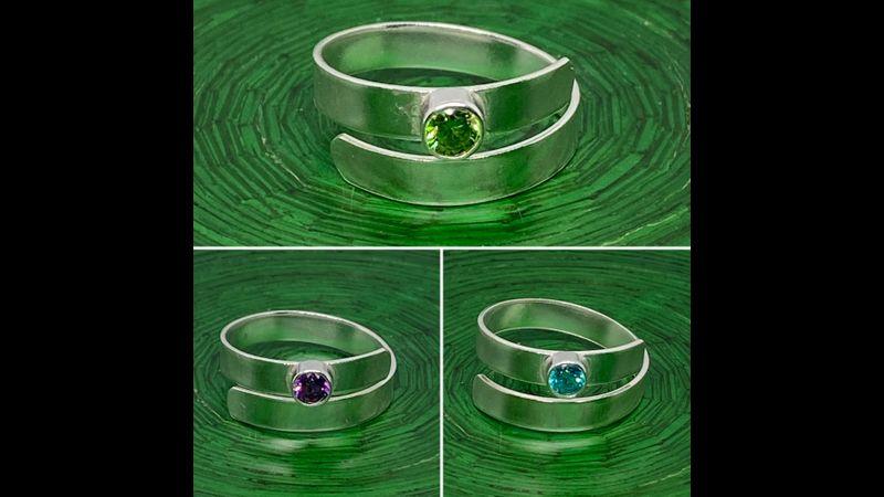 4mm gem stone silver wrap rings