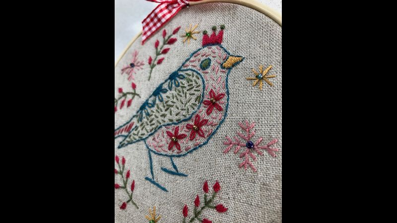 Embroidered robin