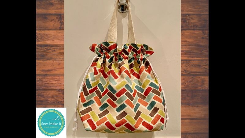 drawstring bag with handle - multicolour