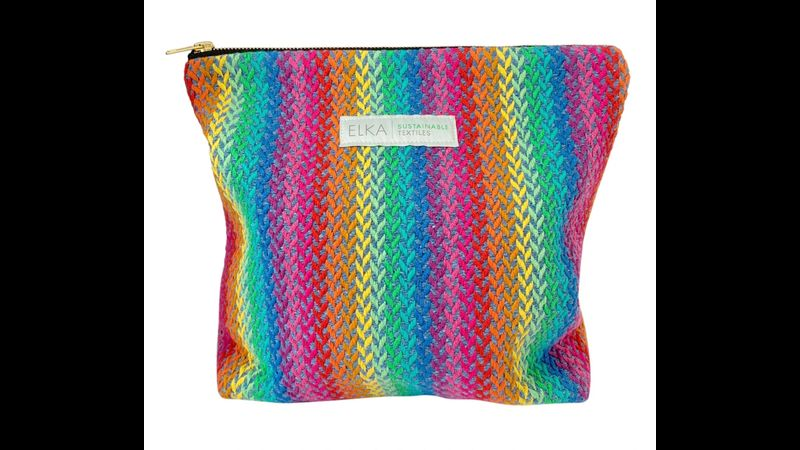 Handwoven weekend 'Rainbow' bag made in the UK