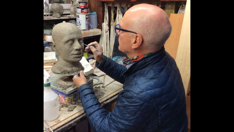 Evening Class Student  working on his first sculpture, over two terms, together with his son who did sculpture classes for his Duke of Edinburgh award
