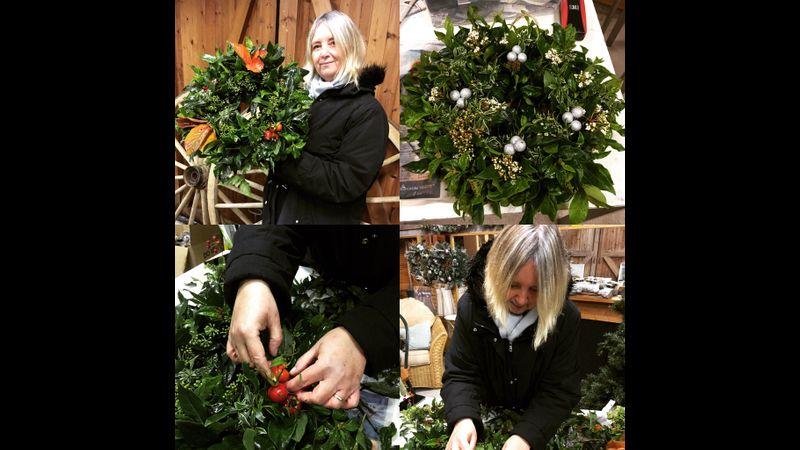 Seasonal Christmas wreath, Wreath workshop, Christmas door wreath