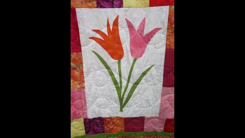 Appliqued tulips