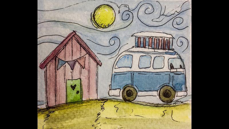 huts and vans watercolour