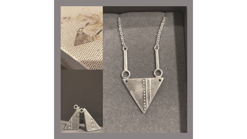 Pendant and earring set silver