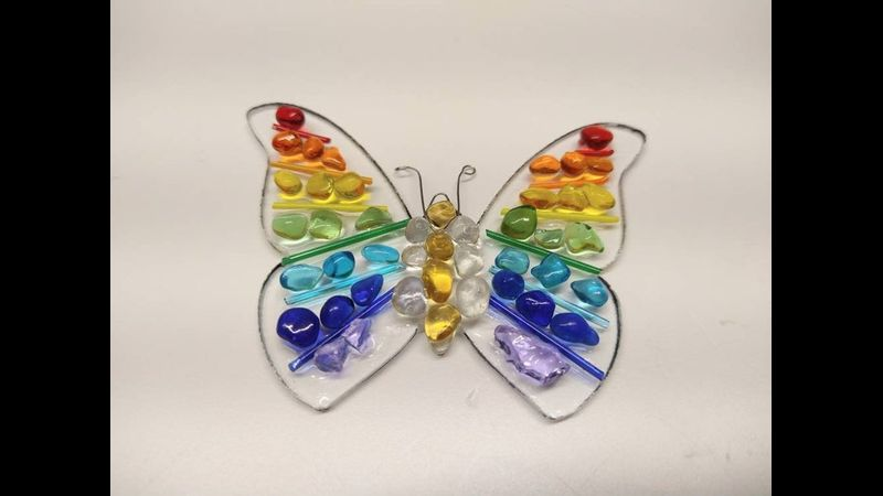 Rainbow Dot Butterfly Fused Glass Kit by Chrissy Webster