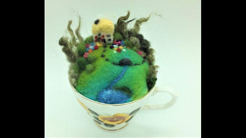 Needle Felted Garden Teacup Scene Kit