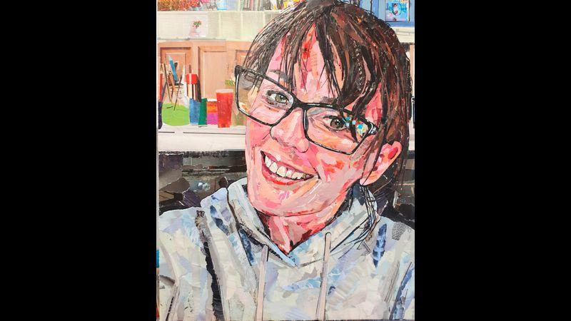 Me - Debi Lane ... a self portrait in ripped paper.