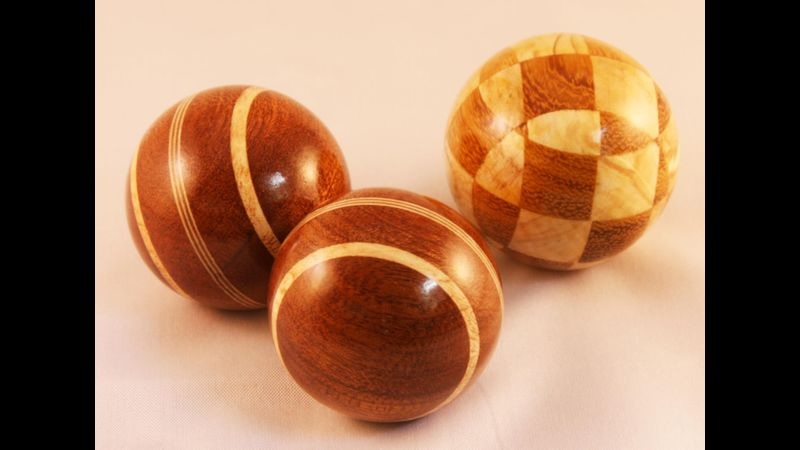 3x wood turned balls