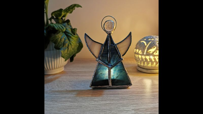 Blissful Stained Glass Angel- Dark Blue/Green