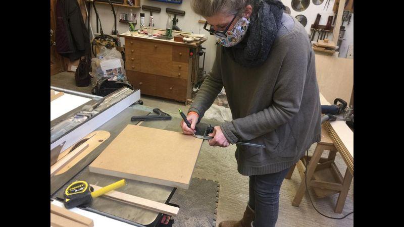 woodwork class, West Byfleet, upholstered footstool