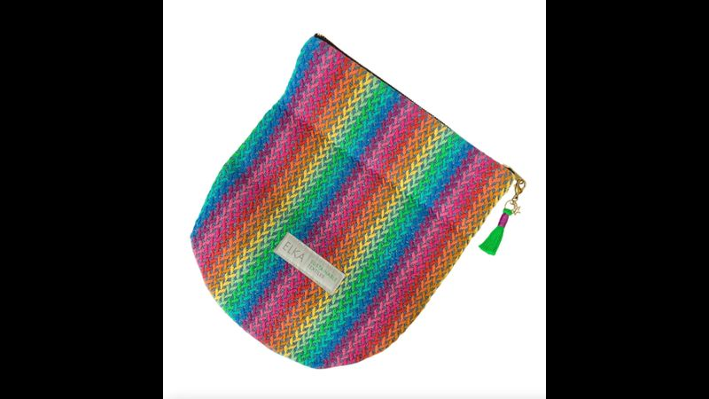 Rainbow clutch bag made in the UK