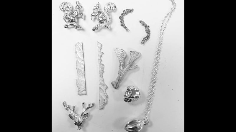 Cuttle fish & clay castings in silver