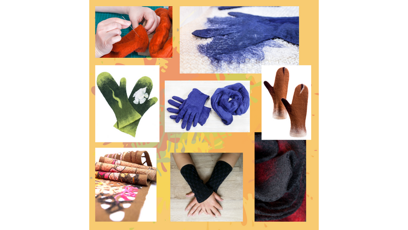 Make wet felted gloves, mittens, wrist warmers and scarves at a craft workshop in Somerset and Dorset