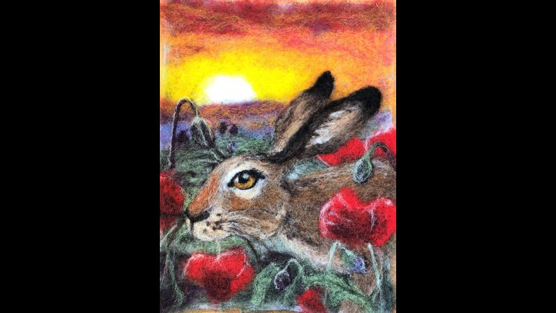 Needle Felted Sunset hare Picture