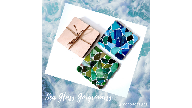 Blue and Green Sea Glass Coasters