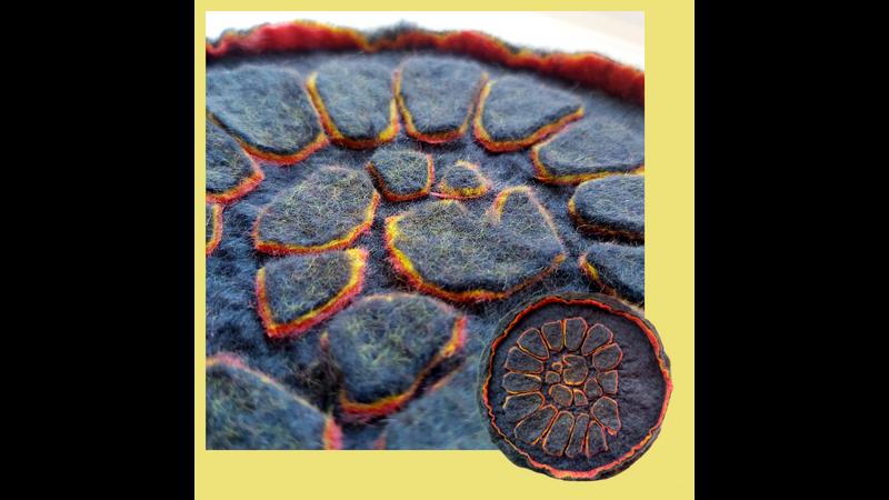 Welt Felt resist technique - complex 2D ammonite pattern with felt layers