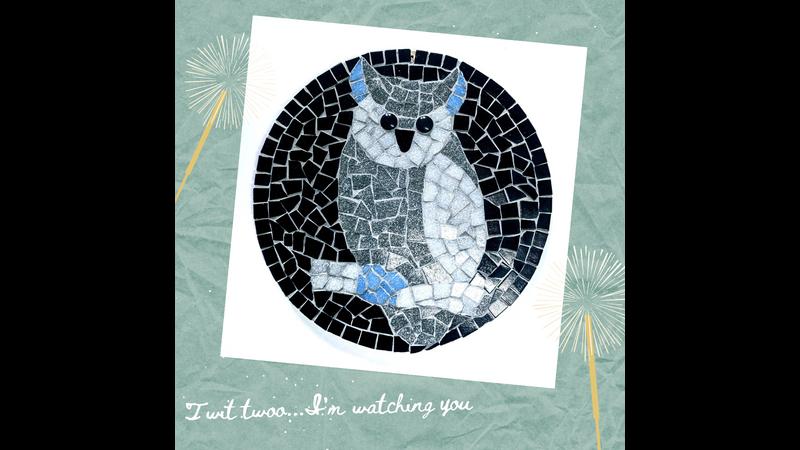 Grey and Black Round Owl Mosaic Kit