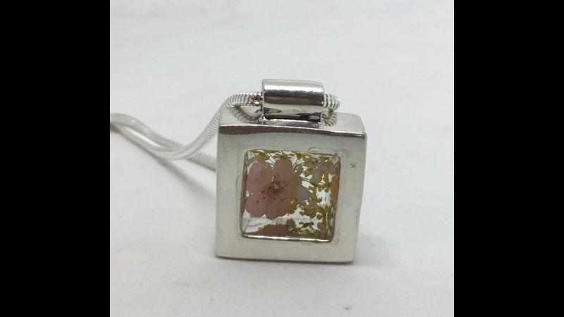 Beautiful handmade square pendant set with pressed flowers