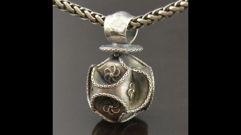 Theta Globe Metal Clay Pendant by Tracey Spurgin of Craftworx Jewellery Workshops