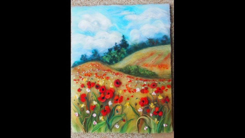 'Landscape with poppies' wool painting by artist Raya Brown