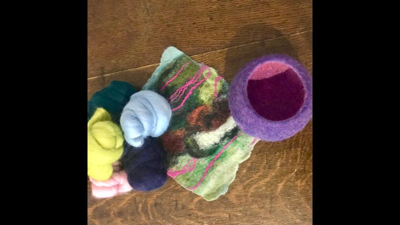 merino wool tops, abstracted A5 wet felted landscape and 3D seam free vessel