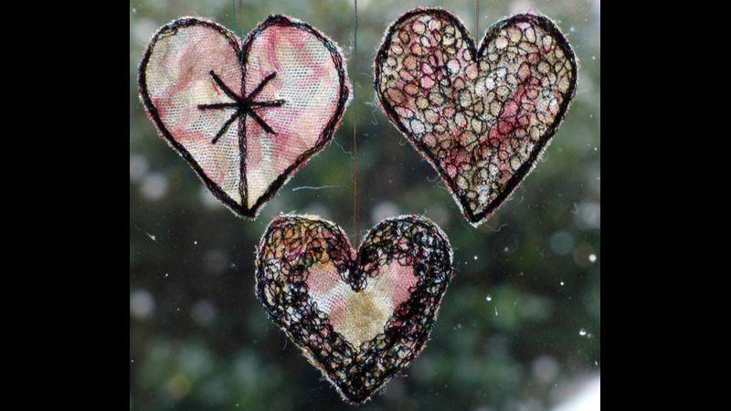 Hearts in a window