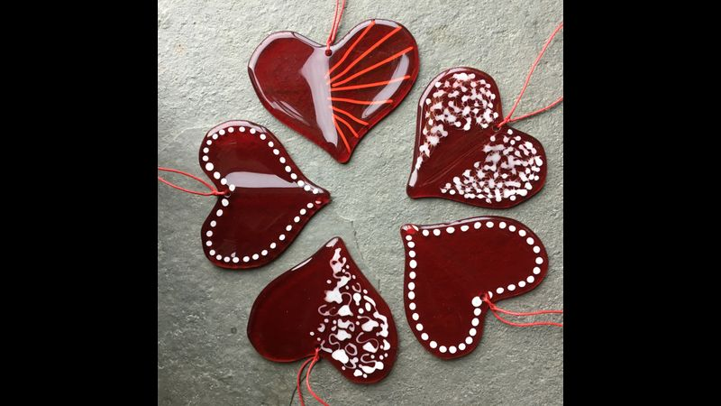 Fused Heart of Glass Hug Rainbow Glass Studios - one red heart