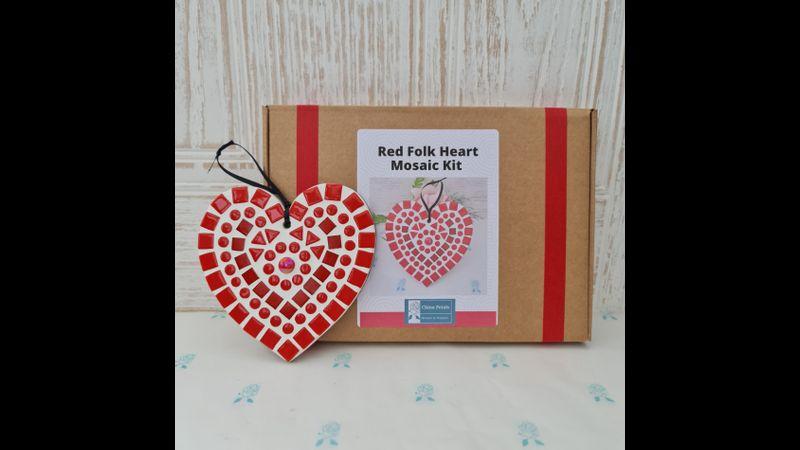 Red 'Folk' Heart Mosaic Kit