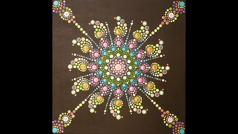 An example of a dot mandala canvas. Come to my class to learn how to create this art form.