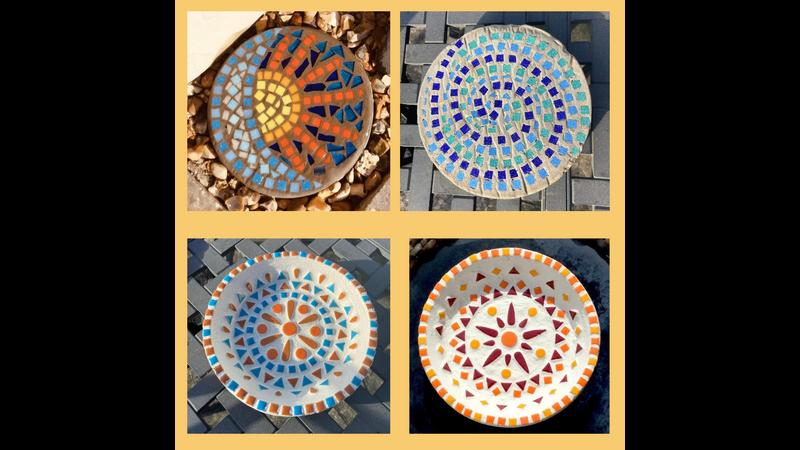 Student mosaics from Craft Workshop Summer Special in Henstridge near Stalbridge Somerset and Dorset