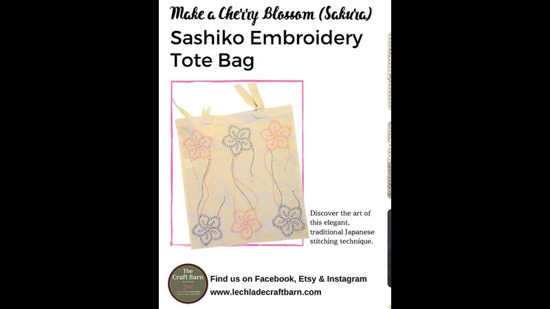 Sashiko Embroidery Tote Bag Kit Cherry Blossom