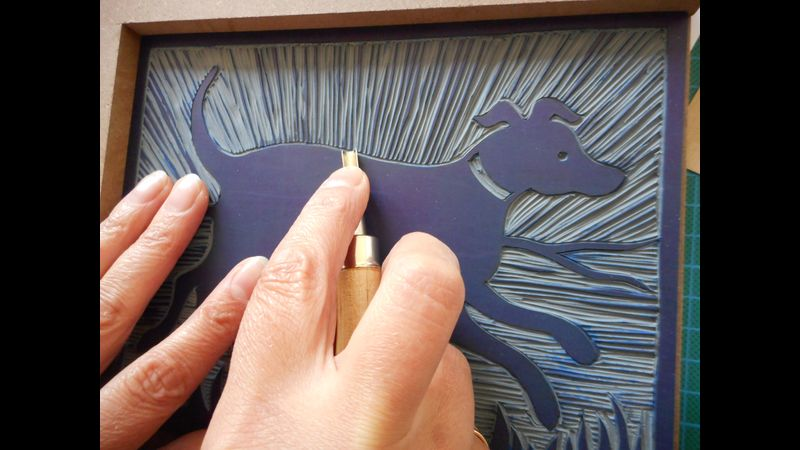 2 Colour lino cutting and printing in Derbyshire.