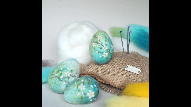 Needle felted blossom egg workshop with hessian ECO felting pad available to purchase from our website