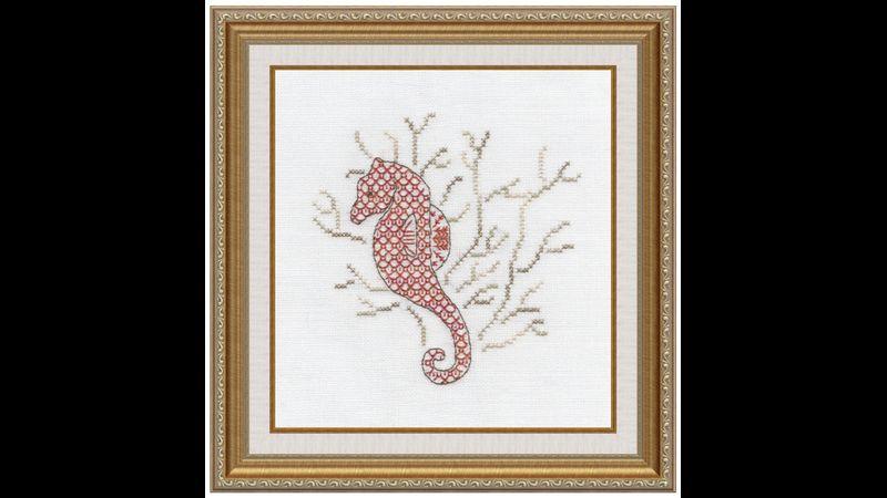 Cute seahorse in rusty reds