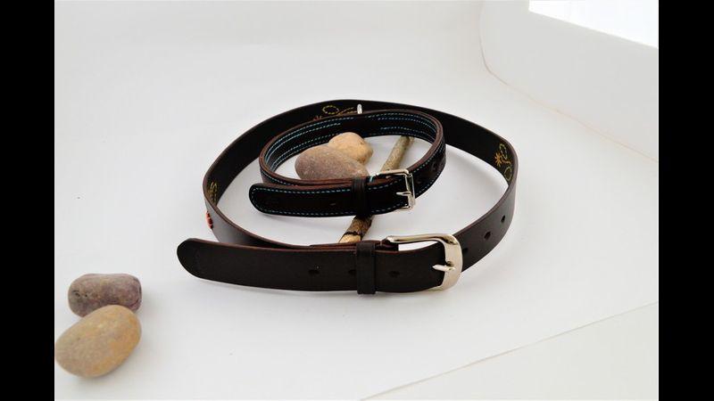 Embellished belt and dog collar.