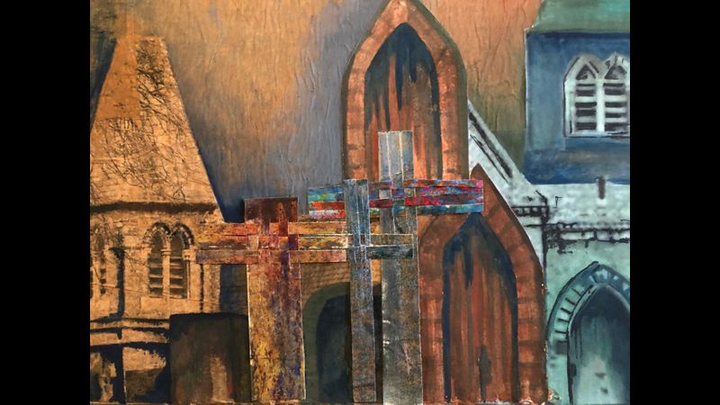 Abstract Cityscape in Watercolours & Mixed Media