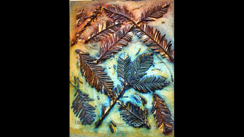A collagraph plate incorporating some natural materials.