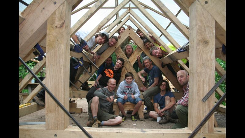 Timber framing course group, Hewnwood, Brecon, Wales