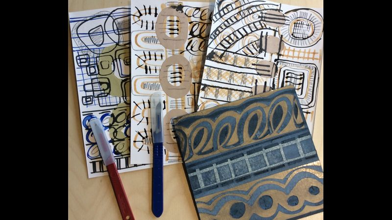 Drawing and collage inspired by the theme Rhythm & Pattern.