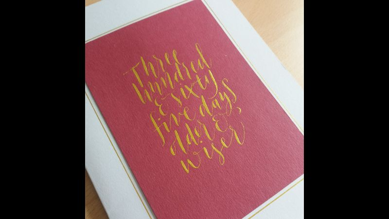 Modern calligraphy Birthday card using Finetec gold watercolour