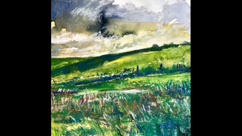 Lakeland Landscape in Watercolour and Mixed Media near Windermere