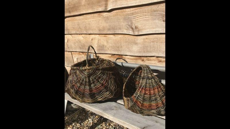 A deep frame basket and a circular basket
