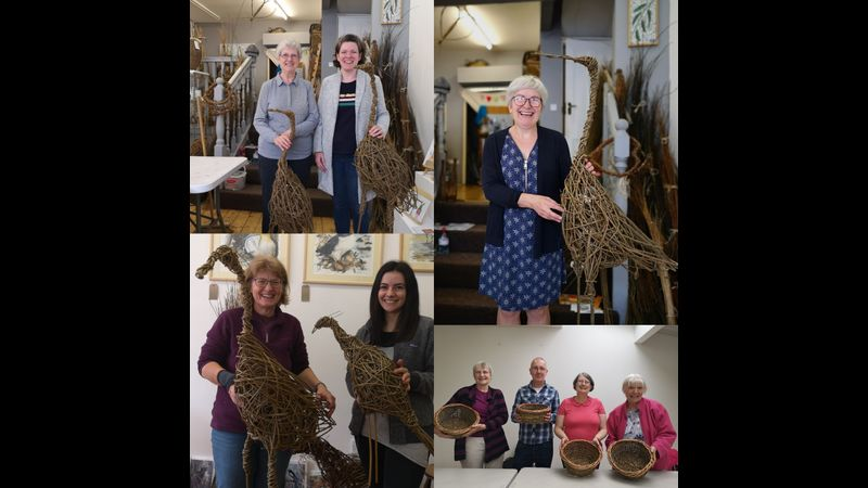 Students work Willow Bird Sculpture Workshop at Creative with Nature Todmorden West Yorkshire