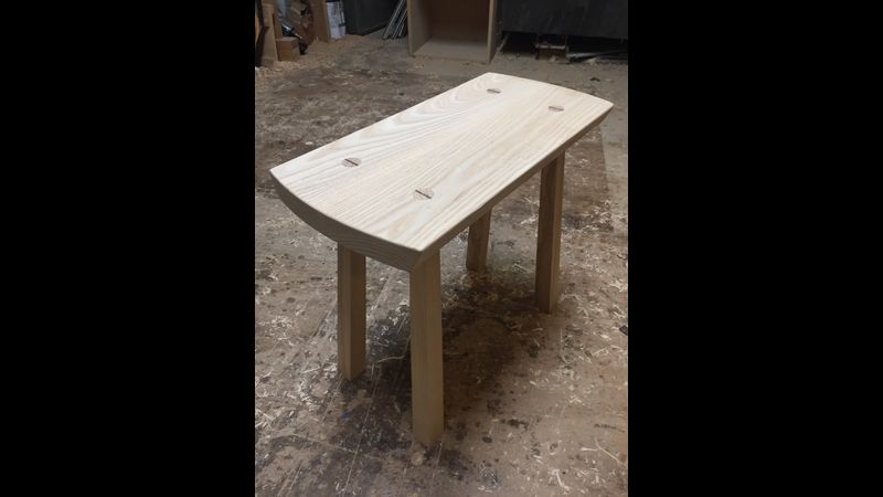 Ash stool with wedged mortice and tenon joints at Tom Trimmins Woodwork London