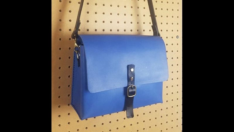 Do-it-yourself-bag-kit-Make-a-Bag-at-home-leather-course-Handmade-cross-body-satchel-small-Blue-crop