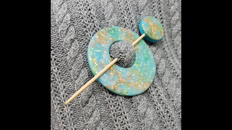 Mixed media shawl pin