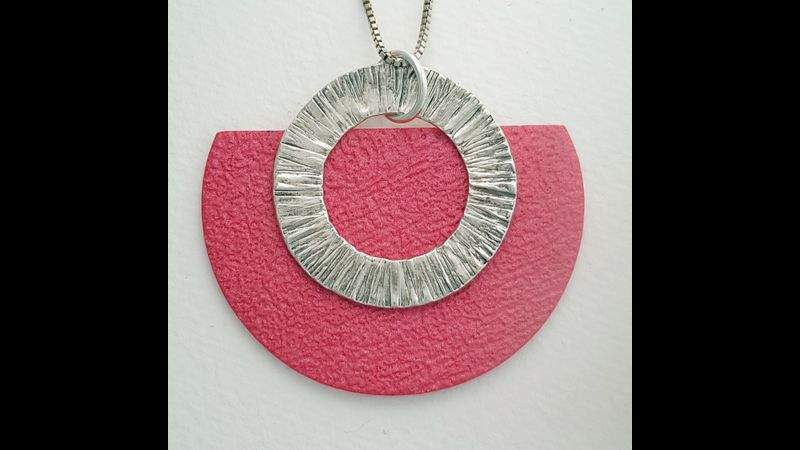 Statement pendant made with fine silver and polymer clay