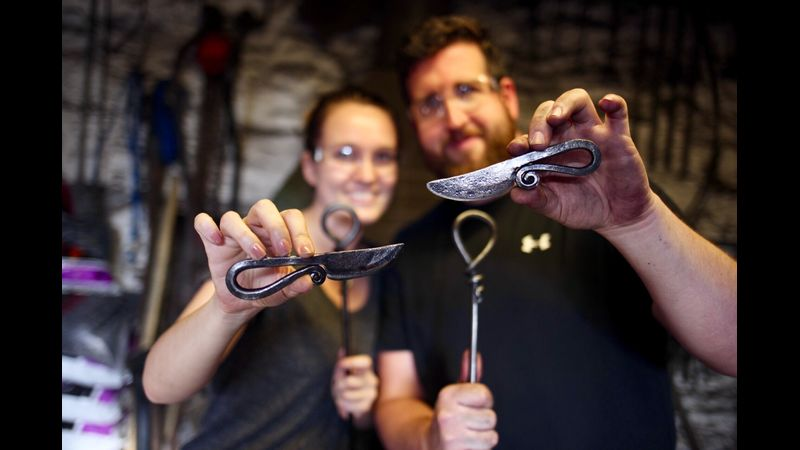 Blacksmith's knives and smiles all round!