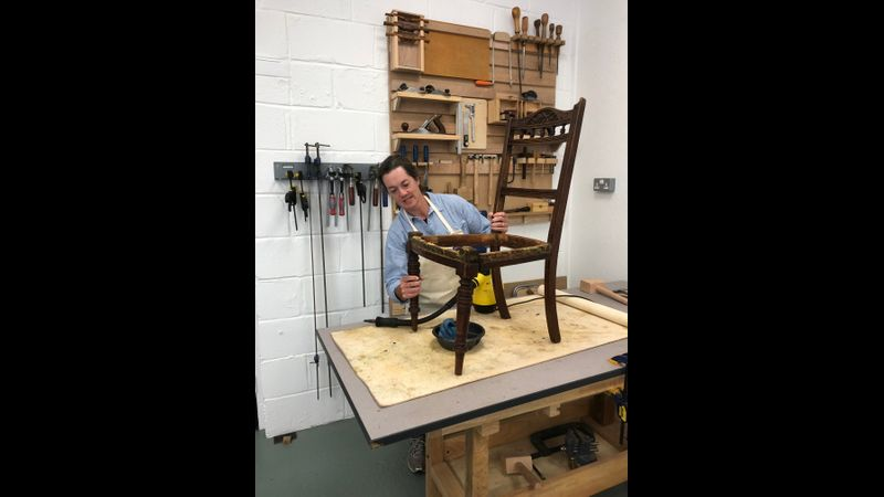 Restoration course day - teaching how to deal with a chair that has frame/joint damage.